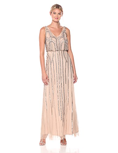 Adrianna Papell Women's Beaded V-Neck Blouson Gown, Taupe/Pink, 14