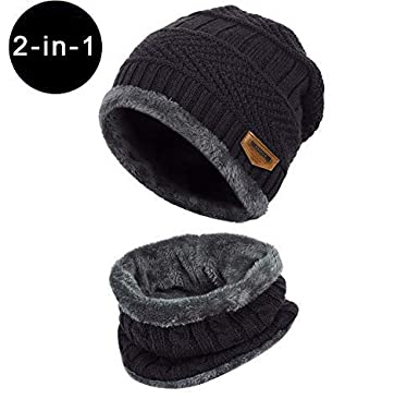 Winter Neck Warmer Unisex Thermal Circle Scarf with Knit Fleece Liner Skiing Scarf for Outdoor Sports