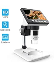 LCD Digital Microscope, SKYBASIC 4.3 inch 50X-1000X Magnification Zoom HD 1080P 2 Megapixels Compound Microscope 8 LED Adjustable LED Light Video Microscope