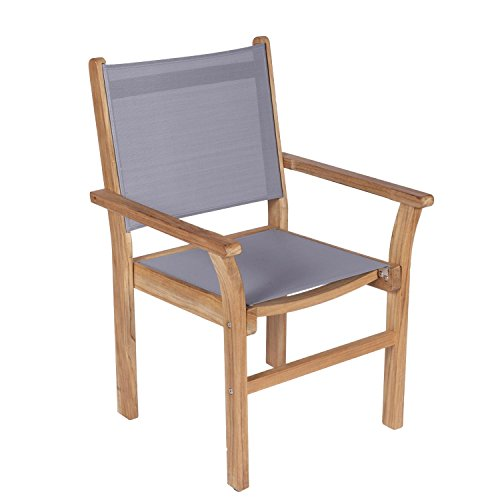 Royal Seating Stacking Chairs - Royal Teak Collection CAPG Captiva Sling Stacking Chair, Gray