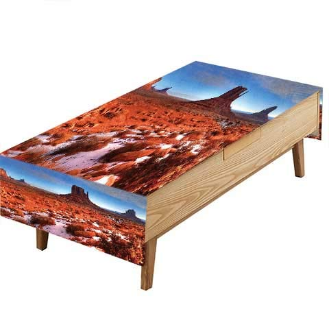 PINAFORE Waterproof SpillProof Tablecloth Long Exposure Photo Grand Canyon American Landmark Tranquil Native Lands Orange Blue Hotel Parties Out Dinners W60 x L120 INCH -