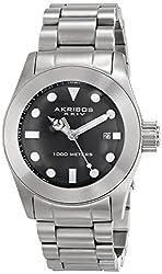 Akribos XXIV Men's AK730SSB Quartz Movement Watch with Black Glossy Dial and Stainless Steel Bracelet