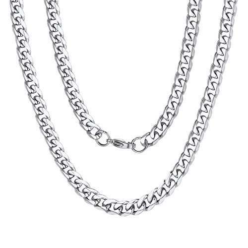 Stainless Steel Curb Cuban Chain 6mm 18inch Mens Necklace Silver Color ()