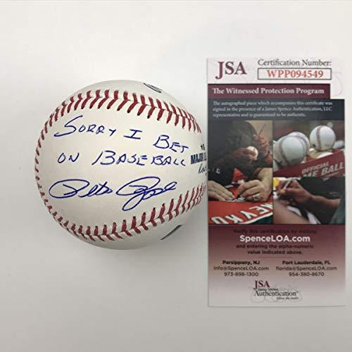 - Autographed/Signed Pete Rose Sorry I Bet On Baseball Rawlings ROML JSA COA
