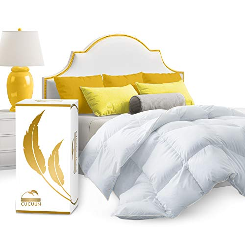 Real Luxury Down Comforter King Cali Size | 100% Egyptian Cotton 1200 TC 750+FP | White Goose Down Comforter | Corner Tabs for King Duvet Insert/Queen Duvet Insert/Twin Duvets