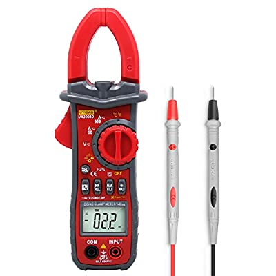 Digital Clamp Meter,UYIGAO Auto-ranging Multimeter with AC/DC Voltage, Resistance, AC Current, Diode Test, Build in Flashlight and 3 Number Digital LCD Display