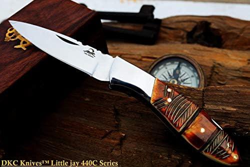 DKC Knives Sale DKC-58-LJ-EH-440c Little Jay Chief 440c Stainless Steel Folding Pocket Knife 4 Folded 7 Long 4.7oz oz High Class LJ-Serie