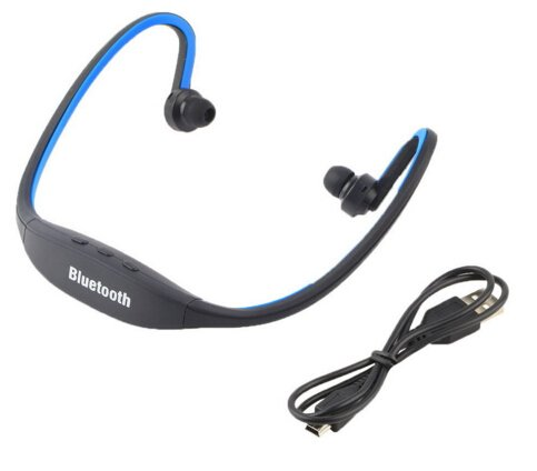 ArMordy(TM) Sport Bluetooth Earphone S9 Plus SD Card Slot Bluetooth Headphones Microphone For iphone Huawei XiaoMi Phone[ Blue ()