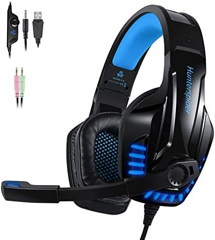 PS4 Gaming Headset with Noicse Cancelling Mic Over Ear Headphones LED Light Stereo Surround Sound, Lightweight Comfort for Laptop Mac Nintendo Switch Games – Blue
