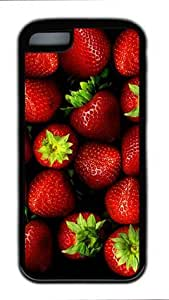 E-luckiycase TPU Supple Shell Strawberries with Black Edges Skin for Iphone 5C Case