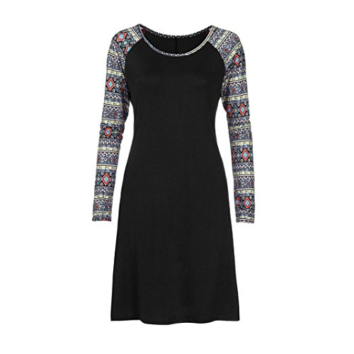 Women O Dress Printed Long Navy Kolylong Neck Black Knee Dress Casual Geometry Length Sleeve M Loose R7w00qdTW