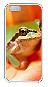 iPhone 5S Case, iPhone 5S Cases -Green Frog TPU Rubber Soft Case Back Cover for iPhone 5/5S ¨C White