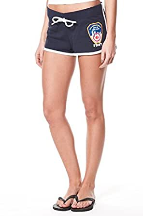 FDNY LADIES NAVY FRENCH TERRY SHORT WITH EMBLEM FRONT AND KEEP BACK PRINT (Small)