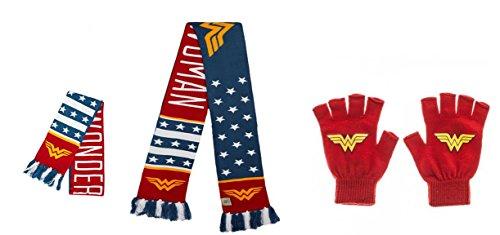 Wonder Women Scarf and Knit Gloves - Woman Wonder Scarf