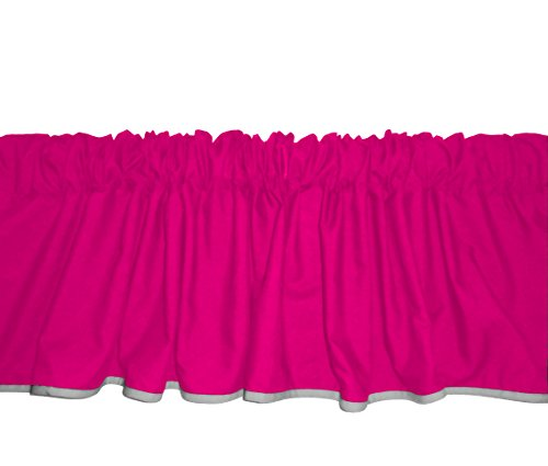 Baby Doll Bedding Solid Two tone  Window Valance, Hot Pink/Grey by BabyDoll Bedding