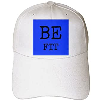 3dRose Xander inspirational quotes - BE fit, blue background - Caps - Adult Baseball Cap