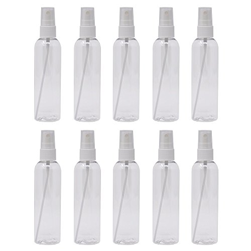 Plastic Spray Bottles Empty 4 oz with Fine Mist Sprayers PET BPA Free Materials Great for Essential Oil Sprays (10 Pack, Clear) ()