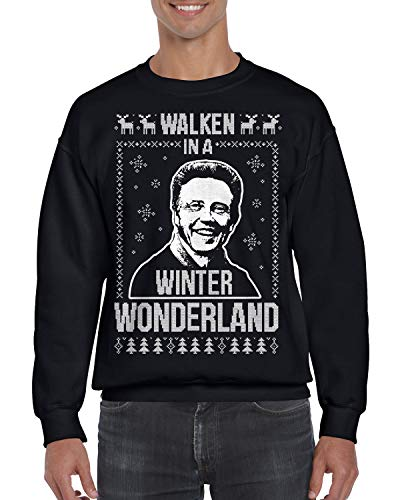 (Walken in A Winter Wonderland Ugly Christmas Sweatshirt Large Black)