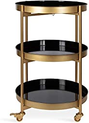 Kate and Laurel Celia Modern Glam 3-Tier Metal Tray Bar Cart, 18.5 x 18.5 x 30, Black and Gold, Decorative Rou