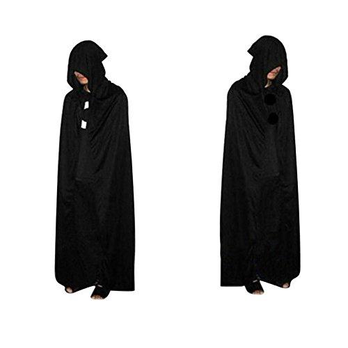 Isguin Halloween Cloak Grim Reaper Death Devil Hooded Robe Cloak Black Death Costume Cosplay 170cm