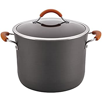Rachael Ray Cucina Hard-Anodized Nonstick Covered Stockpot, 10-Quart, Gray, Pumpkin Orange Handles