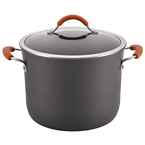 Orange Rachael Ray Covered Pot - Rachael Ray Cucina Hard-Anodized Nonstick Covered Stockpot, 10-Quart, Gray, Pumpkin Orange Handles