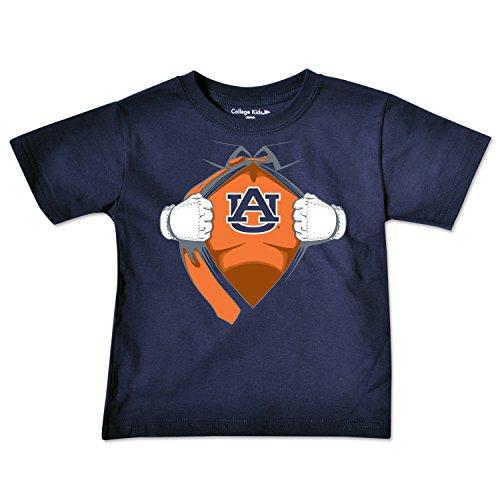 Auburn Kids Shirt - NCAA Auburn Tigers Toddler Short Sleeve Super Hero Tee, 3 Toddler, Navy