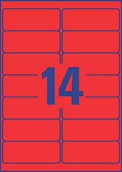 AVERY Zweckform L7263R-25 Neon-Etiketten A4, 350 St/ück, abl/ösbar, 99,1 x 38,1 mm, 25 Blatt neonrot