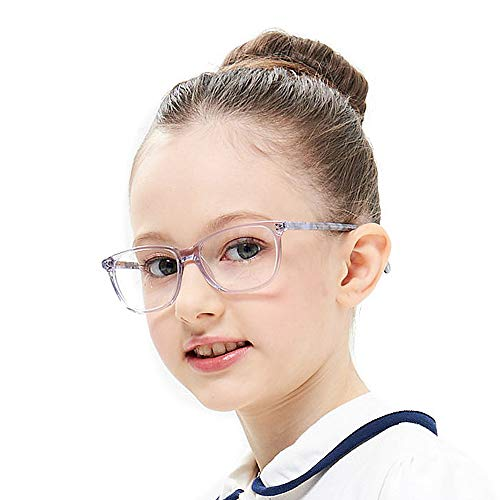 Teens Children Smart Cute Looks Gray Kids Glasses Square Eyewear Frame with Clear Lens for Boys Girls(Age -