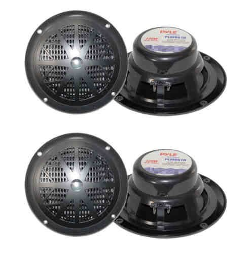 "4) NEW PYLE PLMR61B 6.5"" 240W Marine/Boat Dual Cone Waterproof Speakers TWO PAIR"