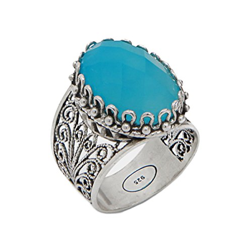 925 Sterling Silver Blue Agate Oval Filigree Ring (Size 5 - 11) (5.5)