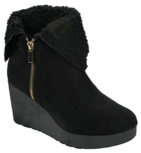 Poppet Simili-suède Lacets Up Tricot Chandail Manchette Mid Wedge Cheville Booties Black_crepe
