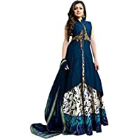 S A Creation Women's Cotton Silk Gowns (Beige,Free Size, Semi-Stitched)