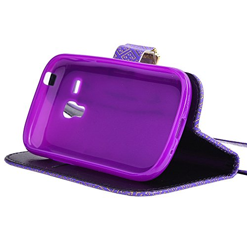 Harryshell Newest 2015 Diamond Buckle samsung Galaxy Mini S3 Wallet Case[shock-absorption], Pu Leather Wallet Card Holder Pouch Flip Case Cover with Stand Function & Free Wrist Rope for Samsung Galaxy Mini S3 S3mini(not S3) I8190 (B2)