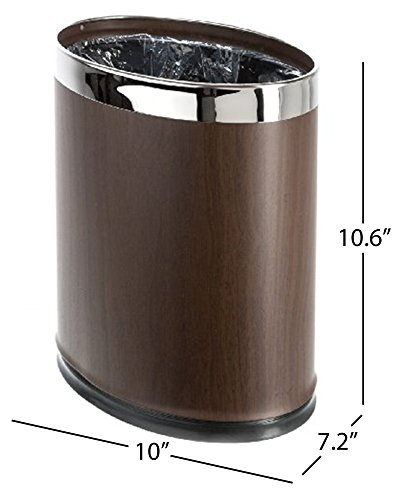 Brelso 'Invisi-Overlap' Metal Trash Can, Open Top Small Office Wastebasket, Oval Shape (Wood look) by Brelso