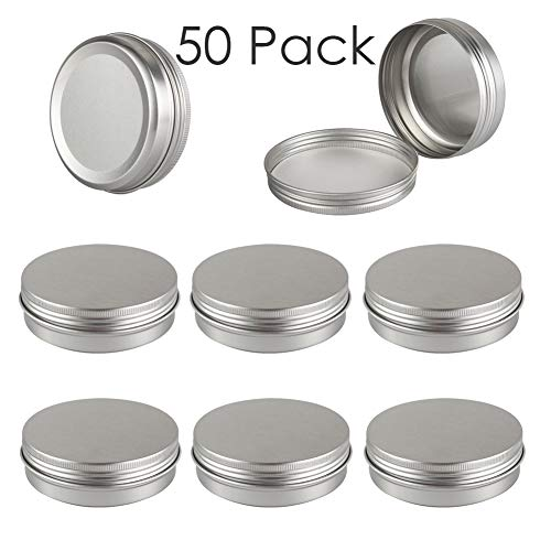 DLIBUY (Pack of 50) 100G/100ML Empty Aluminum Tins Cans Jars Travel Containers with inner liner make up powder-Screw Lid Round Bottle for Lip Balm Cosmetic-Anti-Leakage ()