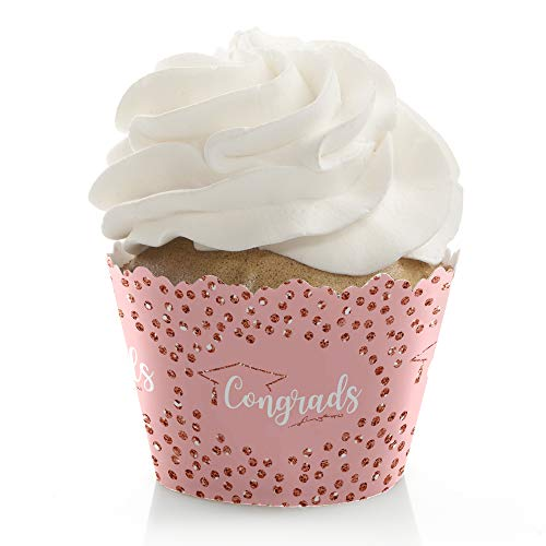 Rose Gold Grad - Graduation Party Decorations - Party Cupcake Wrappers - Set of 12 ()