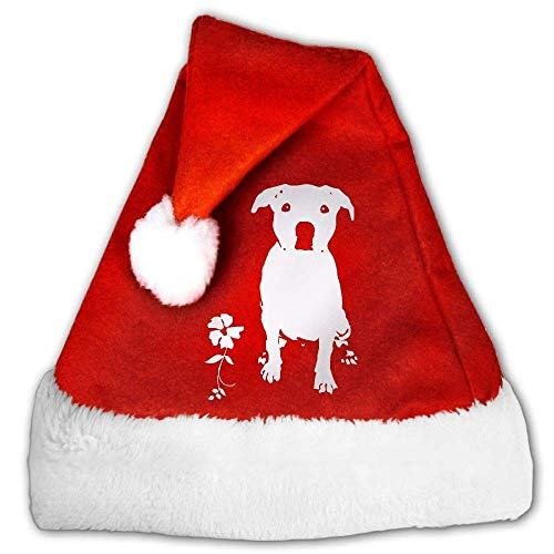 Red and White Xmas Hat, Naughty Pitbull Dog Silhouette-1 Christmas Beanie for Childrens and Adults (2 PCS) (Hat Velvet Pimp)