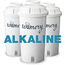 Water Filter Replacement 3-Pack. Fits Wamery and Brita's Pitcher. Ionizer and Purifier Cartridge system. NSF ANSI Certified. Reduce Chloride, hard metals from kitchen faucet. (ALKALINE: Ceramic)