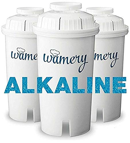 Wamery Certified Alkaline Water Filter Replacement 3-Pack for Wamery and Brita Filtration Pitcher, Ionizer and Purifier Cartridge System. Reduce Chloride, Lead from Kitchen Faucet. ()