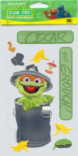 Sesame Street 3D Stickers-Oscar The Grouch