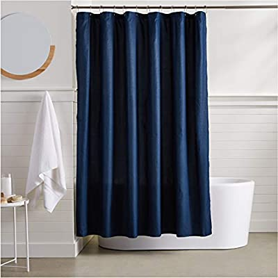 AmazonBasics Waffle Texture Shower Curtain - 72 Inch, Navy Blue - Durable, stylish waffle texture shower curtain Textural waffle pattern creates an understated, polished look in your bathroom Built-in ring holes make installation easy (rings not included) - shower-curtains, bathroom-linens, bathroom - 41frLPnH0tL. SS400  -
