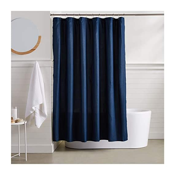 AmazonBasics Waffle Texture Shower Curtain - 72 Inch, Navy Blue - Durable, stylish waffle texture shower curtain Textural waffle pattern creates an understated, polished look in your bathroom Built-in ring holes make installation easy (rings not included) - shower-curtains, bathroom-linens, bathroom - 41frLPnH0tL. SS570  -