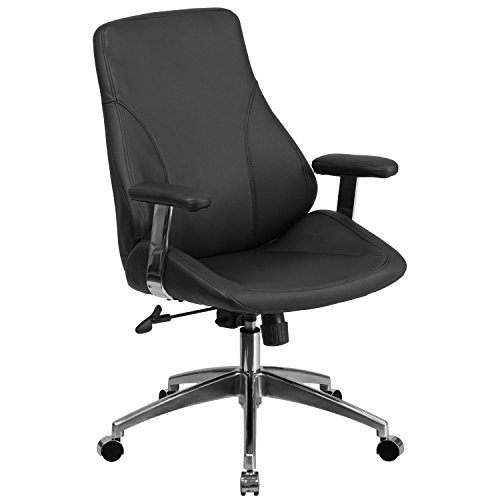 Flash Furniture Mid-Back Black Leather Executive Swivel Chair with Arms