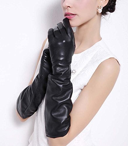 Women's Super Long Elbow Gloves Lambskin Leather Lined Full Finger Dress/Opera Gloves Party Locomotive Warm Mittens Autumn And Winter New ( Color : Black Silk lining (Lined Lamb Dress Glove)
