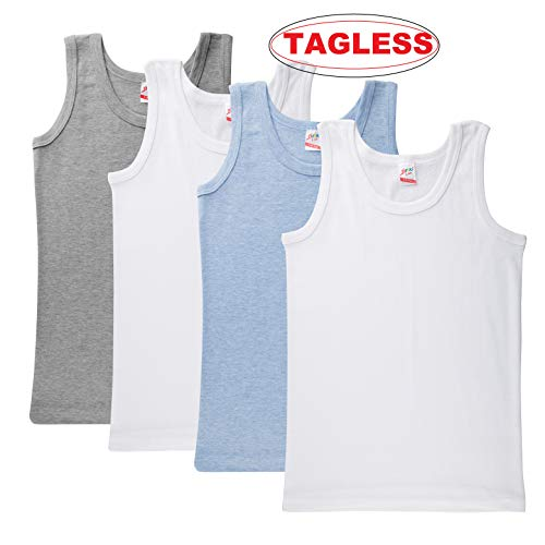 (Brix Boys' Cotton Tank Top - Tagless Undershirts Super Soft 4-Pack Tees Sizes 2-14. (Tagless White, Chambray, Heather Grey, 7/8 Years))