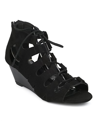 Women Caged Low Wedge Sandal - Lace Up Gladiator Sandal - Dressy Casual Versatile Trendy Fashion Sandal - HD67 by Wild Diva Collection - Black Faux Suede (Size: (Lace Suede Wedges)