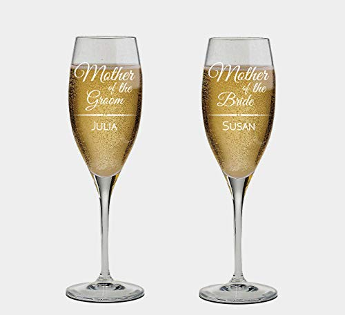 Set of 2 Personalized Wedding Champagne Flutes- Mother of the Bride and Groom Design - Engraved Champagne Glasses for Mother - Gift for Wedding