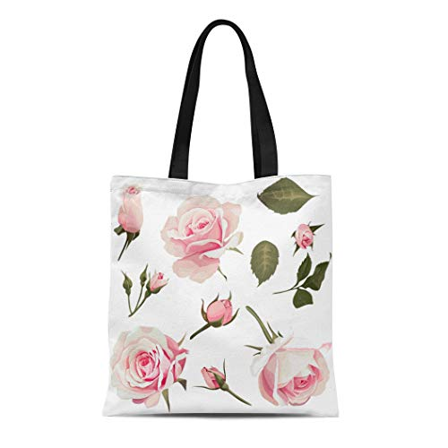 (Semtomn Canvas Tote Bag Shoulder Bags Beautiful Green Vintage Realistic Roses Clip Pink Flower White Women's Handle Shoulder Tote Shopper)