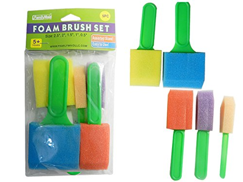 5PC CRAFT Foam BRUSHES FOAM Size: 6'' LONG , Case of 144 by DollarItemDirect